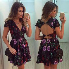Backless Deep V-neck Flower Print Flared Short Dress