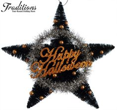2012 Happy Halloween Star Hanger (Bottle Brush, Tinsel & Balls; 12 inches; 19.99) || Christmas Traditions