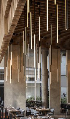 Gallery of Culinary Platform / Kimmel Eshkolot Architects - 3 Lobby Interior, Restaurant Interior Design, Interior Design Tips, Interior Lighting, Modern Restaurant, Cafe Interior, Architecture Design, Best Office, Lobby Design