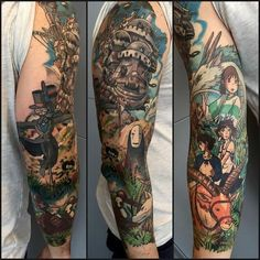 Ideas Tattoo Sleeve Drawings Studio Ghibli For 2019 Dope Tattoos, Badass Tattoos, Trendy Tattoos, Body Art Tattoos, Girl Tattoos, Miyazaki Tattoo, Studio Ghibli Tattoo, Geniale Tattoos, Best Sleeve Tattoos