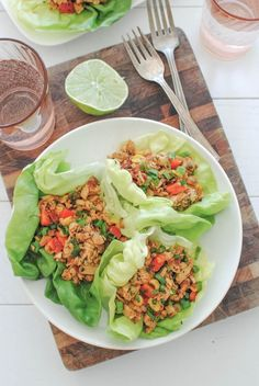 Chipotle Chicken Lettuce Wraps.  I like the ingredients.  I like the flavor.  And I like that it's tucked in a happy, crisp leaf of lettuce.  Mmmm!