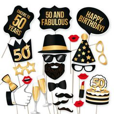 No 50th birthday party is complete without a little sophisticated fun and excitement. That is why our team here at PartyGraphix's has designed these exceptional photo booth 50th birthday props. Included in the kit are 34 total pieces such as champagne flutes, red lips, glasses, hats, mustaches and bowties. The wide range of both masculine and feminine props makes this DIY photo booth prop kit an excellent choice for both men's and women's 50th birthday parties.