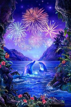Fireworks in Paradise Wallpaper Mural by Magic Murals Dolphin Images, Dolphin Art, Beautiful Nature Wallpaper, Beautiful Landscapes, Beautiful Landscape Photography, Paradise Wallpaper, Image Nature, Underwater Art, Beautiful Fantasy Art