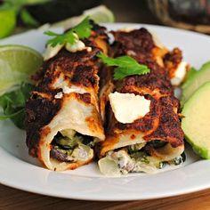 Zucchini goat cheese enchiladas