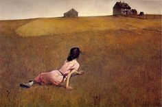 """""""Christina's World"""" by Andrew Wyeth. She was crawling in the field because she was paraplegic."""