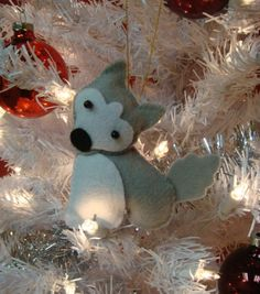 cute husky malamute dog felt christmas xmas ornament. $10.00, via Etsy.