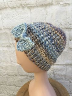 Handknit Bow Trim Textured Beanie Hat £12.00 Animal Fibres, Chunky Yarn, Beautiful Gifts, Beanie Hats, Hand Knitting, Stitch Patterns, Challenge, Crochet Hats, Bows