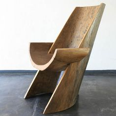 "pinterest.com/fra411 #chair - Hugo França, Brazil, 2006 ""Nimosi"" chair in pequi wood carved from a pequi wood canoe of ""pataxos"" Brazilian Indians from south of Bahia. Designed and made by Hugo Franca. 25.25"" L x 23.5"" W x 42"" H / 64.14cm L x 59.69cm W x 106.68cm H"