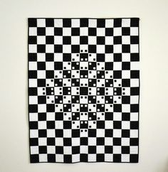 black & white, optical illusion quilt by Twiggy and Opal