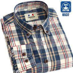 Men's Casual Shirts Long Sleeve 100% Cotton Shirt Men Retro Style Camiseta Masculina
