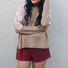 The Dakota Lace inset sweater layered over the Allanah burgundy romper ✨ #shopdevi • shopdevi.com