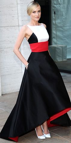 Diane Kruger - Look of the Day - InStyle, At the Metropolitan Opera House, Diane Kruger was breathtaking in a red-white-and-black satin Prabal Gurung creation with a full skirt and a high-low hem. A bracelet, onyx earrings and white Casadei pumps served as accessories