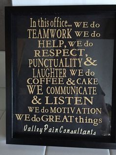 Office rules framed glass vinyl breakroom decor by FalsHandmades: