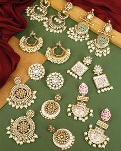 Indian Jewelry Earrings, Indian Jewelry Sets, Silver Jewellery Indian, Ear Jewelry, Pearl Earrings, Antique Jewellery Designs, Fancy Jewellery, Gold Earrings Designs, Stylish Jewelry