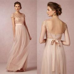 2018 Popular Cap Sleeve Lace Top Long Elegant Bridesmaid Dresses, Cheap Tulle Prom Dress Gown WG01