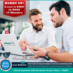 "Welcome to CliqFX & #LearntoEarn with our #LiveWebinar today @ 7:00PM (GMT+4). Our #FREEWebinars are specially designed to help you in #revenuegeneration in very simple & easy steps, Because We CARE!  With this #webinar you can learn ""The #CoolTechnique of #Trade closing which can increase potential #Profit.""  Webinar Outcomes:  1. The #LotQuantity and its meaning for the trade. 2. The technique of the #TradeSplitting.  Join us & #StartEarning now: http://bit.ly/2nc1zO8  #Earnings…"