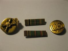 Lot of 4 WW2 US Medals Artillery Disc Brass Pin Back Stripes Bar Africa Military