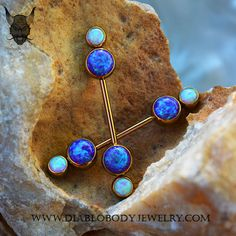 Industrial Strength Titanium Bezel Faux-pal Cluster Barbell, with Sleepy Purple Opals and White Opal, Anodized Rose Gold. Great for Industrial or Nipple Piercings. (TBB+TFPCGC-15)