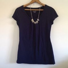 $10 or less SALE! Merona navy blue t-shirt Merona navy blue t-shirt. Size small. **Necklace is not included or for sale, sorry! Bundle 2 or more items to save! Merona Tops Tees - Short Sleeve