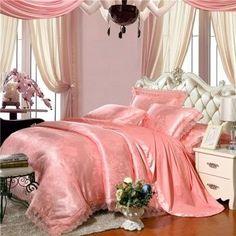 Salmon Pink Sparkly Flower Pattern Modern Chic Antique Lace Design Elegant Girls Jacquard Satin Full, Queen Size Bedding Sets