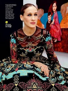 Sarah Jessica Parker ( InStyle US February 2014) VALENTINO Arabesque Cotton Embroidered Long Dress