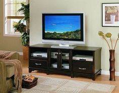 "63"" x 24"", Contemporary Cappuccino Entertainment Console Plasma LCD TV Stand, $398.80"