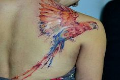 Parrot watercolor tattoo