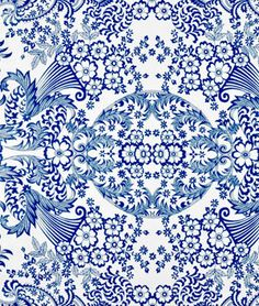 Blue Paradise Lace Oilcloth $6.75yd.   For chair pads, recovering the high chair and the dining room window seat