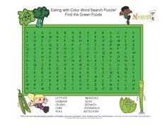 While dinner is cooking, challenge your little chefs to a fun crossword puzzle about green foods! Download a printable PDF version here: http://www.nourishinteractive.com/system/assets/free-printables/23/color-my-plate-rainbow-foods-healthy-green-fruits-vegetable-wordsearch.pdf