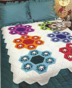 Snow Garden Afghan Vintage Crochet Pattern Throw by PatternMania3