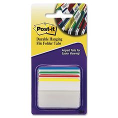 3M PostIt Durable Filing Tabs 2inX1.5in 24/PkgAssorted Primary Colors