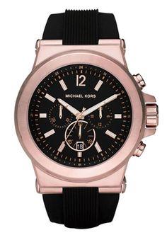 Michael Kors Men'S Dylan Chrono 100M Rose Gold S. Steel / Rubber Watch Mk8184