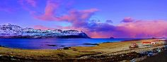 Panorama Sunset in The Land of Fire and Ice - Amazing Iceland!  Photographed by Julia Apostolova.