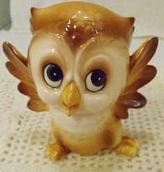 Vintage Ceramic Baby Owl Figurine - Sweet Face