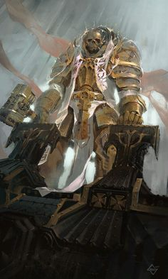 """empyrean-domain: """"Black templar Paladin by Michał Sztuka —– Empyrean Domain: showcasing Sci Fi, War, Horror and Fantasy. Follow for daily cyber-updates """" Probably isn't 40k, but we'll say that it is."""