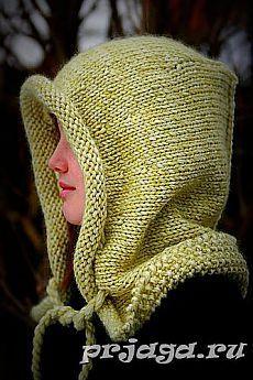 Шапка капюшон спицами от Lily Kate France.
