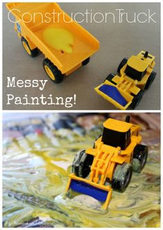 Construction Truck Messy Painting. What a fun process art activity for kids who loves trucks. Great for a transportation theme.