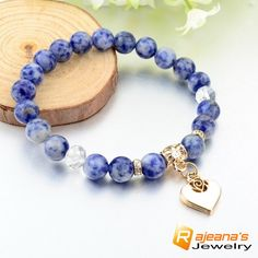 Calming blue marble bracelet ❤ Visit us at rajeanasjewelry.com for all the latest designer jewelry and offer at 90% off warehouse price 🐨 #jewelry #jewellery #jewelrygram #jewelrydesign