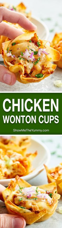 Chicken Wonton Cups made two ways. Wonton cups are filled with a spicy buffalo, blue cheese filling or a sweet BBQ, jack cheese filling and baked to golden perfection! http://showmetheyummy.com #wontoncups #buffalochicken