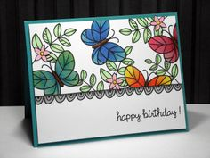 my inky corner: Happy Birthday Lawnscaping!  Lawn Fawn - Flutter By, Blissful Botanicals, Belinda's Borders, Sophie's Sentiments