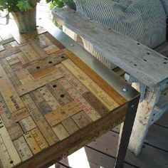 Cover a table in yardsticks