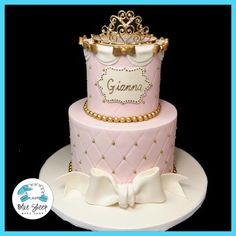 pink and gold princess 1st birthday cake nj