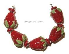 Strawberries handmade lampwork bead set