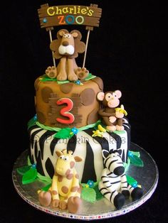 zoo cake idea from Pumpkin Cakes in the UK Zoo Cake, Jungle Cake, Jungle Party, Baby Party, Zoo Birthday Cake, Safari Theme Birthday, Elephant Party, Sculpted Cakes, Cake Cover