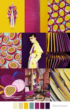 Our FV contributor and friend, Pattern Curator curates an insightful forecast of mood boards & color stories. Colour Schemes, Color Trends, Color Patterns, Sewing Patterns, Pattern Curator, Inspirations Boards, Illustrator, Fruit Pattern, Color Stories