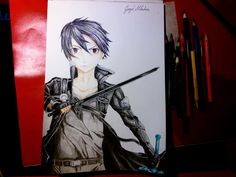 Kirito Drawing From Sword Art Online With Color Pencils Kirito Drawing, Sword Art Online, Online Art, League Of Legends, Colored Pencils, Art Drawings, Anime, Painting, Colouring Pencils