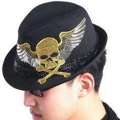 Black Cotton Skull Emo Goth Steam Punk Rock Dress Fedora Hat SKU-71108057