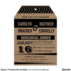 Rustic | Country Brown Rehearsal Dinner Invitation