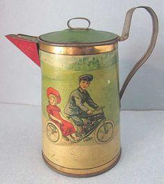 Vintage Victorian Child Tin Tea Set Teapot -Children Touring Auto Motor Bike Toy