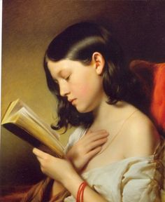 Franz Eybl, Girl Reading, 1850 Via Art Inconnu. It must be a special passage she is reading I Love Books, Good Books, Books To Read, Reading Art, Woman Reading, Girl Reading Book, Reading Room, People Reading, Children Reading